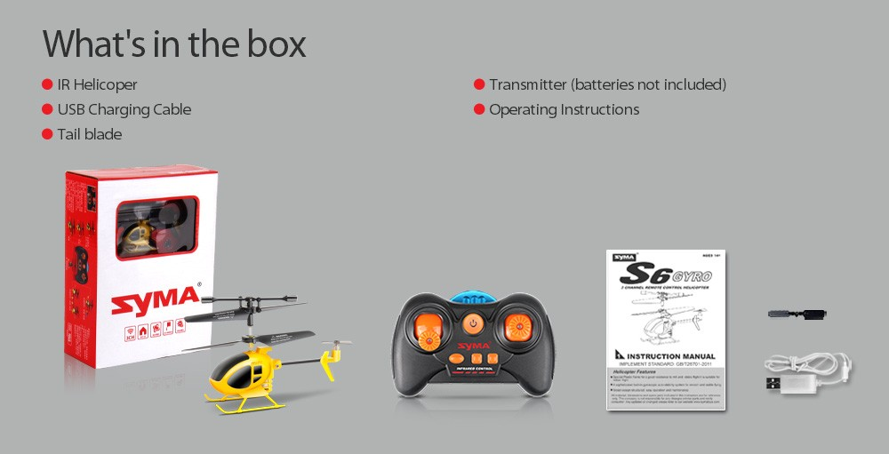 Syma S6 RC Hellicopter 3CH 2.4GHz Gyro Remote Control Helicopters Mole 2 RTF Mini Quadcopter Kids Toys