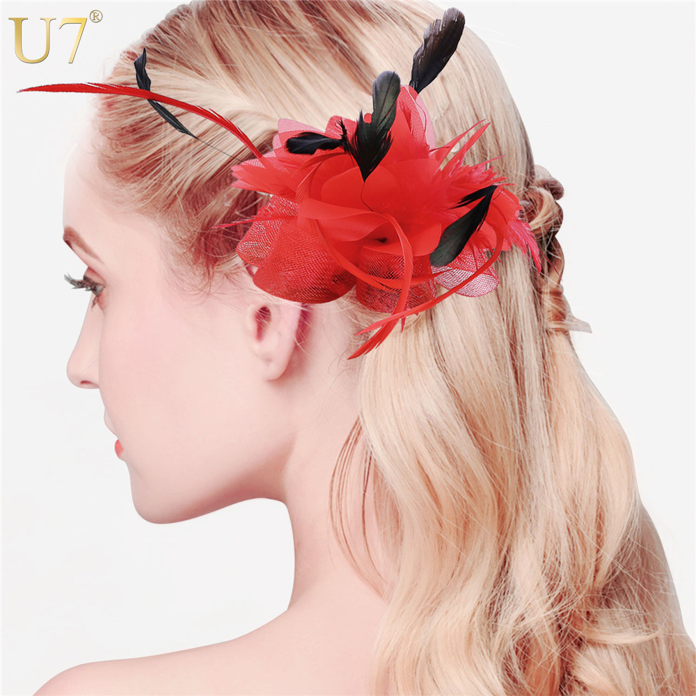 U7 New Flower Hair Clips For Women Cocktail Mesh Feather Fascinator With Veil European Style 3 Use Wedding Hair Accessories F305(China (Mainland))