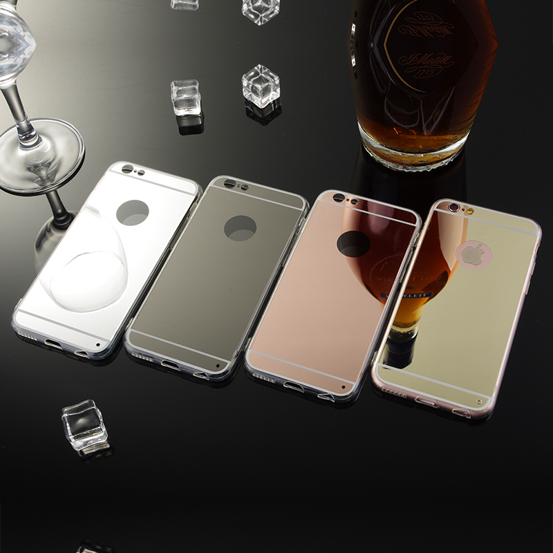 Luxury High-end Atmosphere Mirror Slim Cell Phone Case For Apple iPhone 6 6S 4.7 inch Soft Silicone Frame Protect Back Cover(China (Mainland))