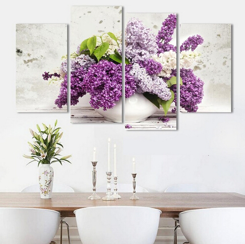 Promotion 4 Pcs Hot sales HD Large lilac flower canvas painting beautiful decorative wall art modern abstract image unframed(China (Mainland))