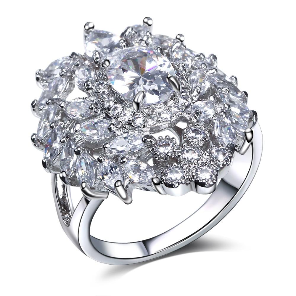 Mansaku Premium Quality Cubic Zirconia Party Ring Platinum Plated Clear CZ Stone Women Engagement Ladies Wedding Rings(China (Mainland))
