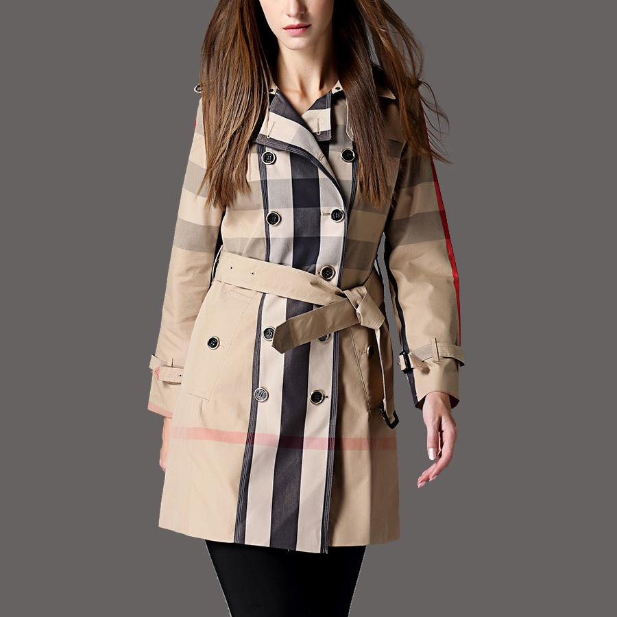 2015 Autumn Disigner British Style High Fashion Women Khaki Cotton Double Breasted Button