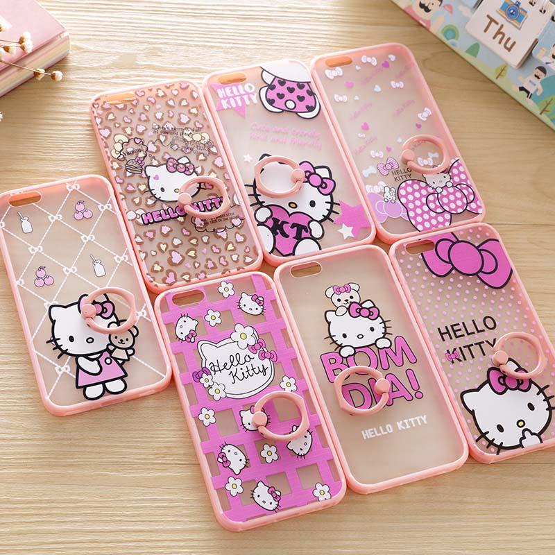 Fashion Lovely Case For iPhone 6 S TPU Pink Hello Kitty Back Cover For iPhone 6 S Plus With Metal Ring Bracket Stand Fundas Case(China (Mainland))