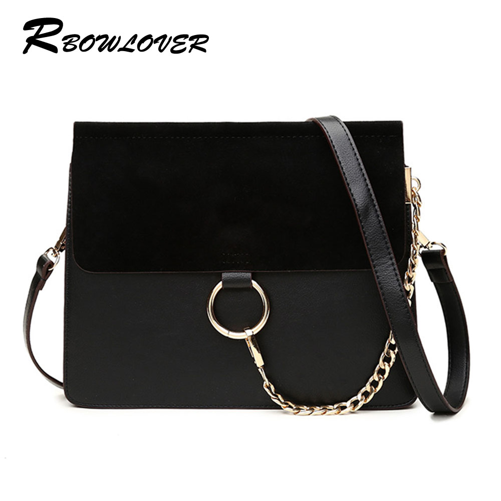 Women Fayed PU Leather Handbags 2016 Fashion Ring Chain Messenger Shoulder Bags Cross Body Bags Black White Flap Bag(China (Mainland))