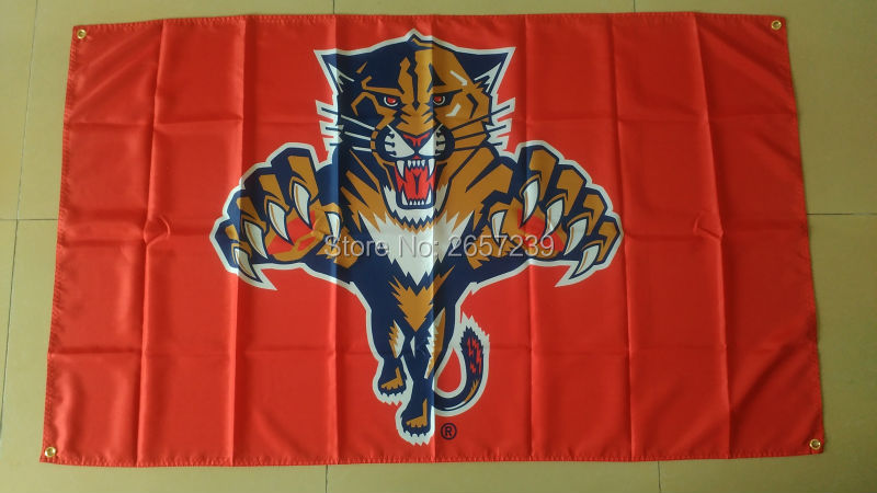 Florida Panthers red Flag 3x5FT NHl banner 100D 150X90CM Polyester brass grommets custom66,free shipping(China (Mainland))