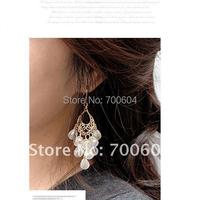 fashion Bohemian big gold beads tassel beaded large statement pendant jewelry ethnic chandelier earrings for women