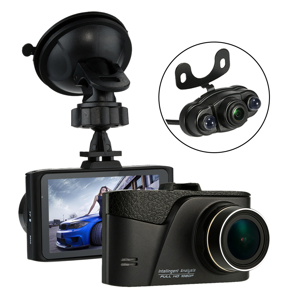 Full HD 1080P 3Inch 2 Lens Car DVR With Backup Camera Video CAM Recorder H.264 Car-detector Support G-sensor Night Vision(China (Mainland))