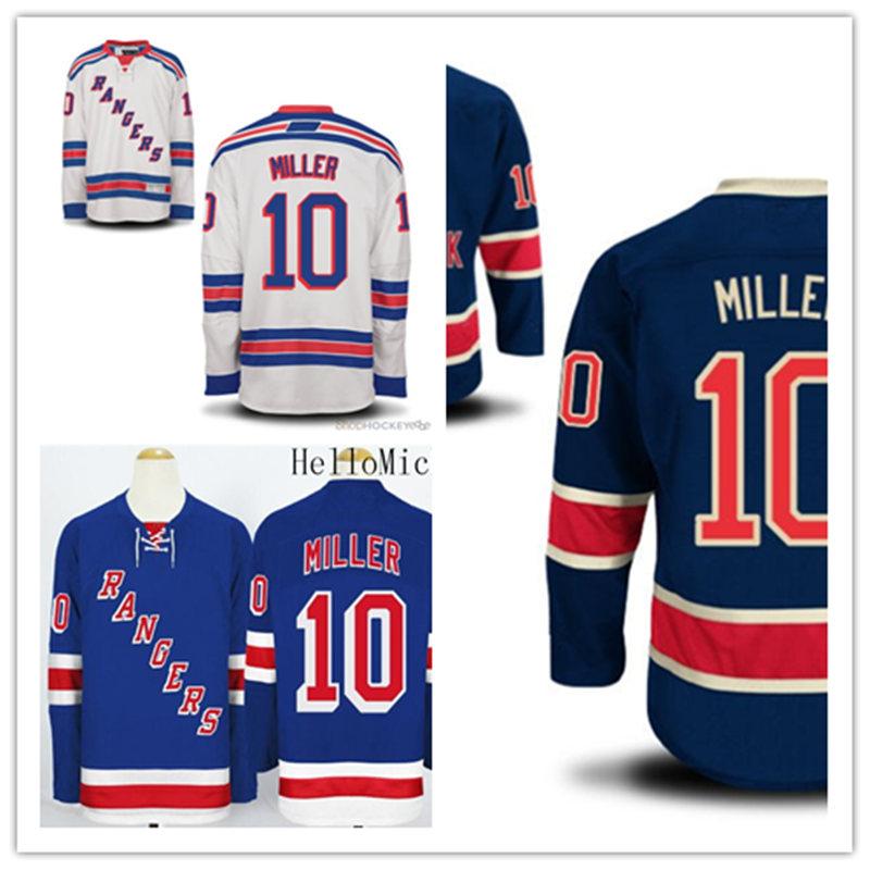 Neu! günstige Genäht Navy blau weiß herren 10 J. T. Miller Eishockeytrikots hellblau JT. Miller Jersey(China (Mainland))