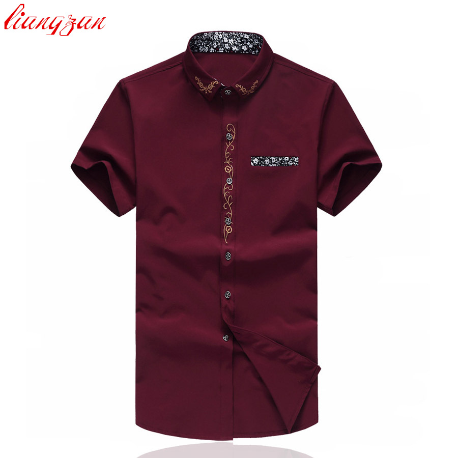 Men Embroidered Cotton Dress Shirt Summer Brand Short Sleeve Plus Size 5XL 6XL 7XL Casual Slim Fit Social Shirt Blouse SL-S079(China (Mainland))