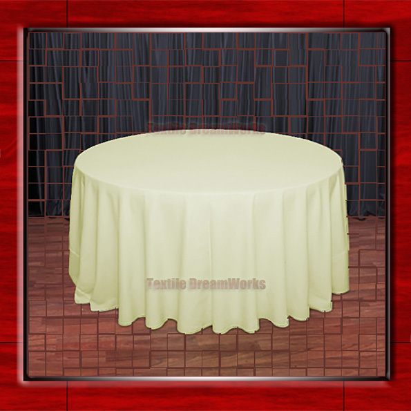 """Hot Sale  132"""" R Maize Round Table Cloth Polyester Plain Table Cover for Wedding Events &Party Decoration(Supplier)"""