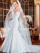 Vestido de noiva 2015 abito da sposa in pizzo a manica lunga della sirena abiti da sposa 2015 vestido de casamento romantico robe de mariage(China (Mainland))
