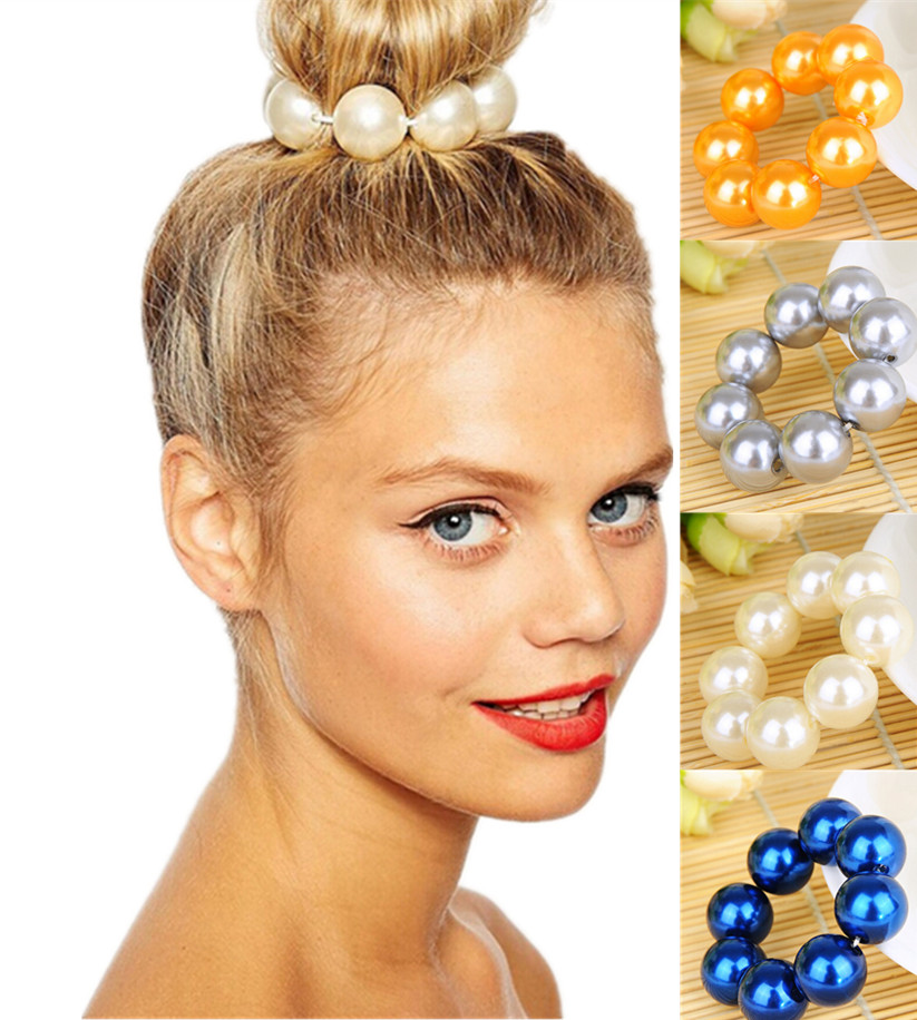 NEW 2015 Silver Gold Pearl Hair Band Rope Scrunchie Ponytail Holder Hair Accessories(China (Mainland))