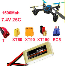 Buy high rate LIPO battery 2s 25c 7.4v 1500mah aeromodeling aircraft li-poly battery 25C low resistance rechargeable fpv battery for $15.99 in AliExpress store