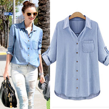 Spring 2016 New Fashion Women Denim Blouse Vintage Casual Long-sleeve Turn-down Collar Loose Thin Cotton Denim Shirt Plus Size