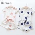 Hurave 2pc Casual Kids Clothing Baby Girls Clothes Sets Summer Heart Printed Girl Tops Shirts Shorts