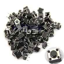 100pcs Power Tactile Push Button Switch Momentary Tact 6x6x5mm DIP Top Copper Through-Hole PCB 4pin (China (Mainland))