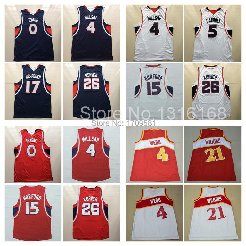 Atlanta Basketball 15 Al Horford Jersey 26 Kyle Korver 0 Teague 4 Paul Millsap 5 DeMarre Carroll 17 Schroder 21 Wilkins 4 Webb(China (Mainland))
