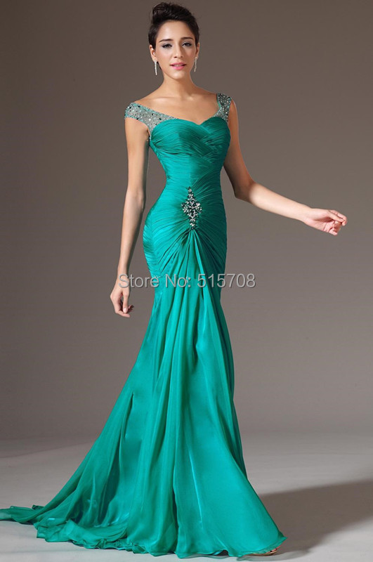 Charming Sheath Cap Sleeve Floor Length Beads 2015 Green Pageant Gown Formal Prom Party Long Chiffon Evening Dress Custom Make(China (Mainland))