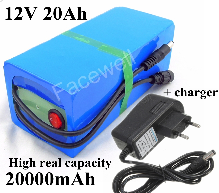 Real capacity 20Ah 12v 20000mah dc 12v portable li-ion 12v lithium battery pack for backup power bank external battery + Charger(China (Mainland))