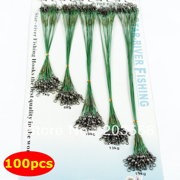 100 pcs Green Fishing Trace Lures Leader Steel Wire Spinner 16/18/22/24/28cm Free Shipping For Beauty Tool