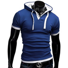 Men Hooded Polo Shirt 2016 Slim Fit Short Sleeve Polo Shirt Homme Hat Causal Polo Shirt Boys M-XXL CD0045