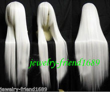 Wholesale& heat resistant LY free shipping>>>New wig Heat Resistant Cosplay New wig long White Straight Wig 100cm