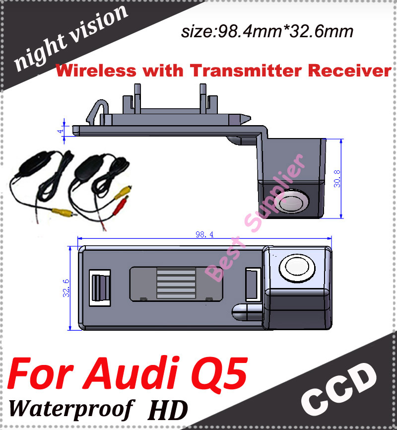 Transmitter Receiver kit 2.4MZH car backup rear view camera for Audi Q5 waterproof 100%(China (Mainland))