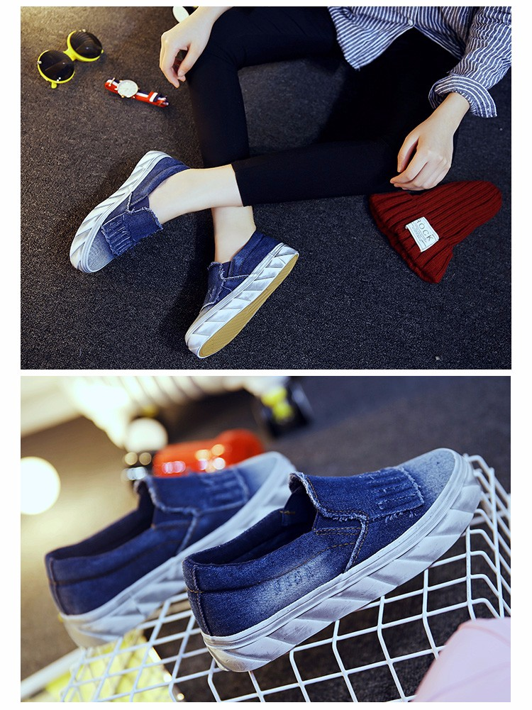2016 New Tassel Style Denim Canvas Flat Women Loafers Shoes Platform A Pedal Lazy Casual Single Shoes For Female Deep Blue M3.5