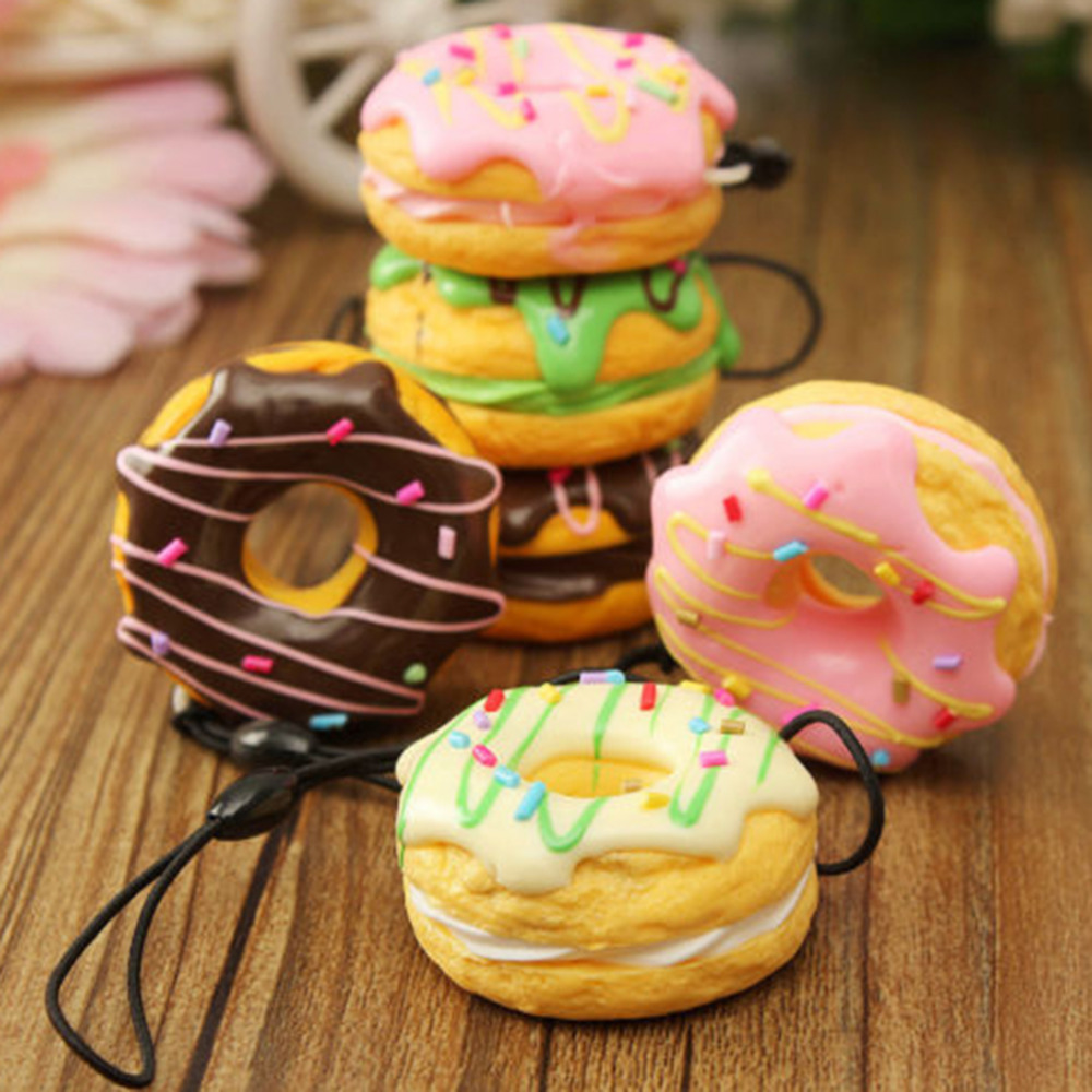1PC Key Colorful Soft Kawaii Squishy Chain Straps Cute Donuts Charms Cell phone Straps Random Color Sent(China (Mainland))