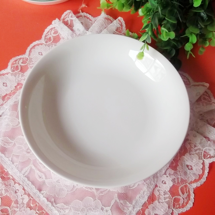 Jingdezhen ceramic disc export pure white porcelain soup plate 8 inch deep dish plate platter in white plate(China (Mainland))