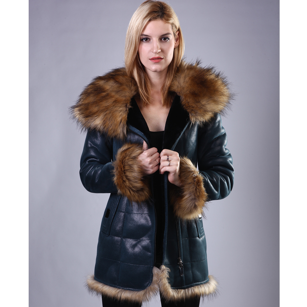Women Coat Artificial sheepskin Raccoon Dog Fur Faux Leather Hooded collar Lady suit coat Direct supply from factory wholesale(China (Mainland))