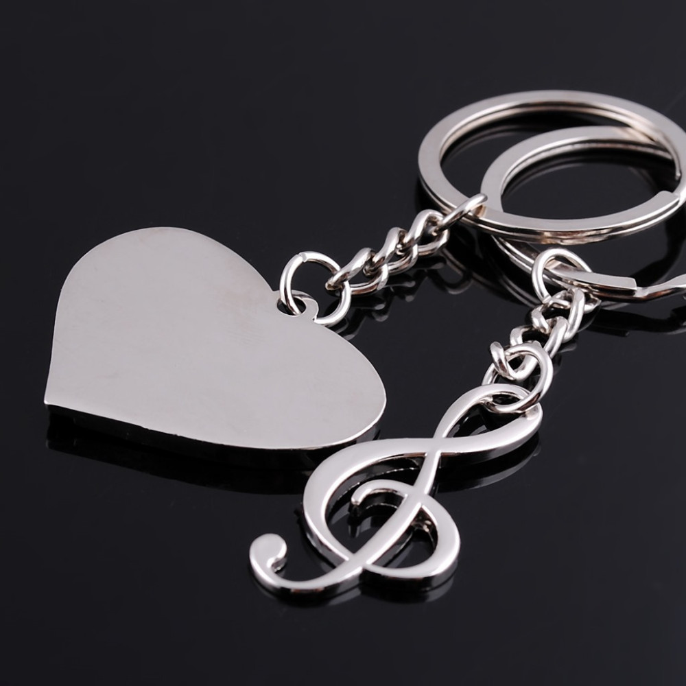 New 2015 Fashion Lovers gift keychain couple Love Heart musical note key chain One Pair Key Ring Free Shipping