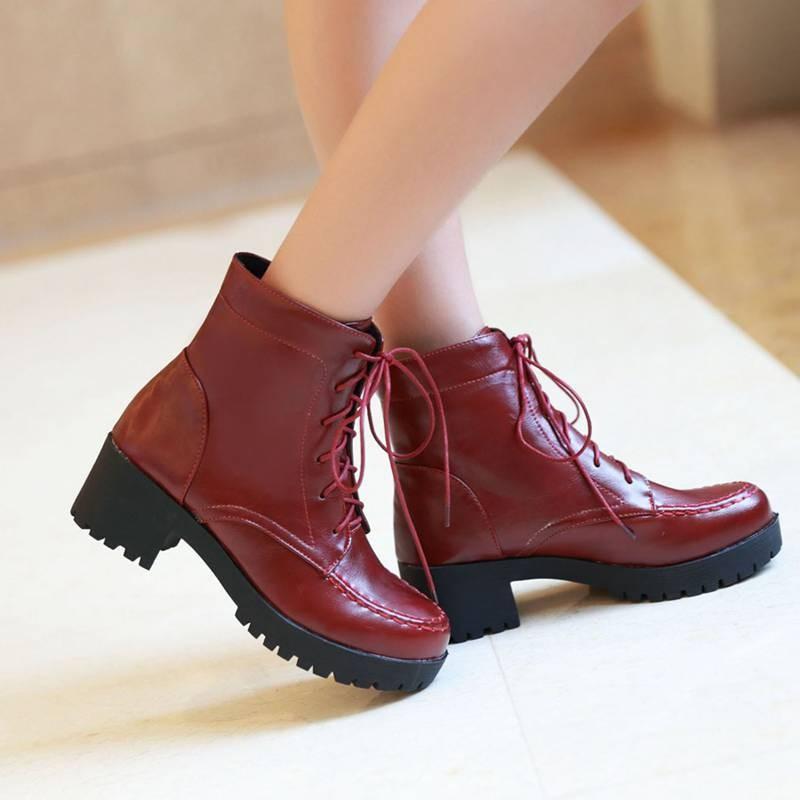 ซื้อ พลัสSize34-42 2016ใหม่เซ็กซี่ผู้หญิงบู๊ทส์มาร์ตินสีดำฤดูใบไม้ผลิหนาส้นปั๊ม3สีฤดูหนาวสตรีรองเท้าข้อเท้าSBT1927