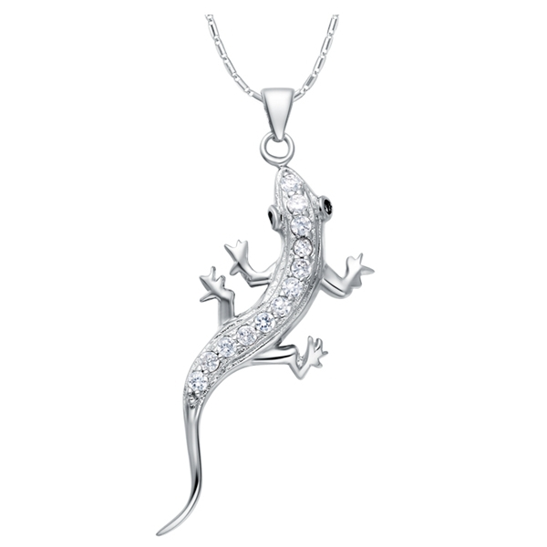 Fashion CZ Micro Pave Cute Gecko Long Silver Jewlery Pendant Necklace for Women Love Gifts Party
