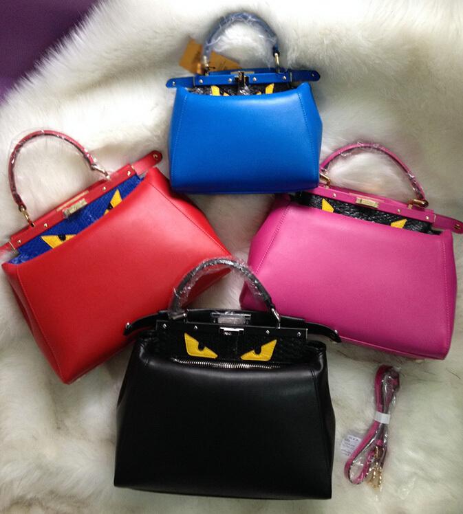 Luxury Brand FEN Bag Peekaboo Women Genuine Leather Mini Tote Monster Eyes Shoulder Bags(China (Mainland))