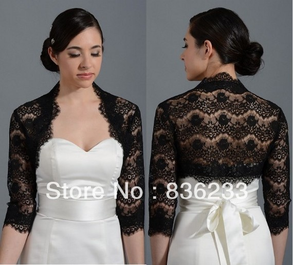 decent black lace 3 4sleeves shrug wrap bridal jacket