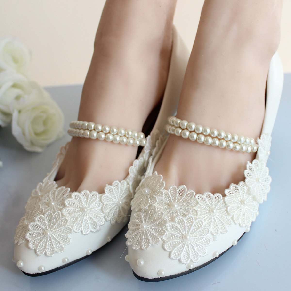 Low Heel White Lace Wedding Shoes Bridal Moccasins Footwear Women Flats Shoes Ballerina Ballet