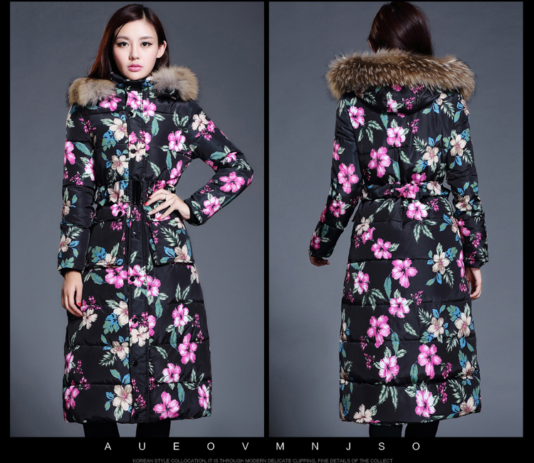 Фотография 2015  New Winter Long Slim Down Padded Thick Fur Collar  Solid Coat Women Parka Winter Cotton  Female Coat