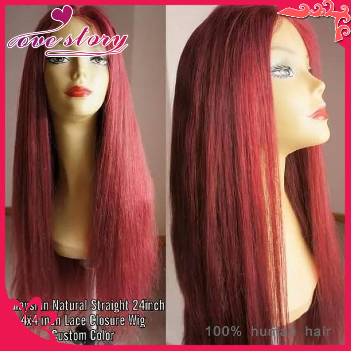 Здесь можно купить  Hot 100% unprocessed cheap long human hair wigs unprocessed middle part full lace wig&red lace front wig straight with baby hair  Волосы и аксессуары
