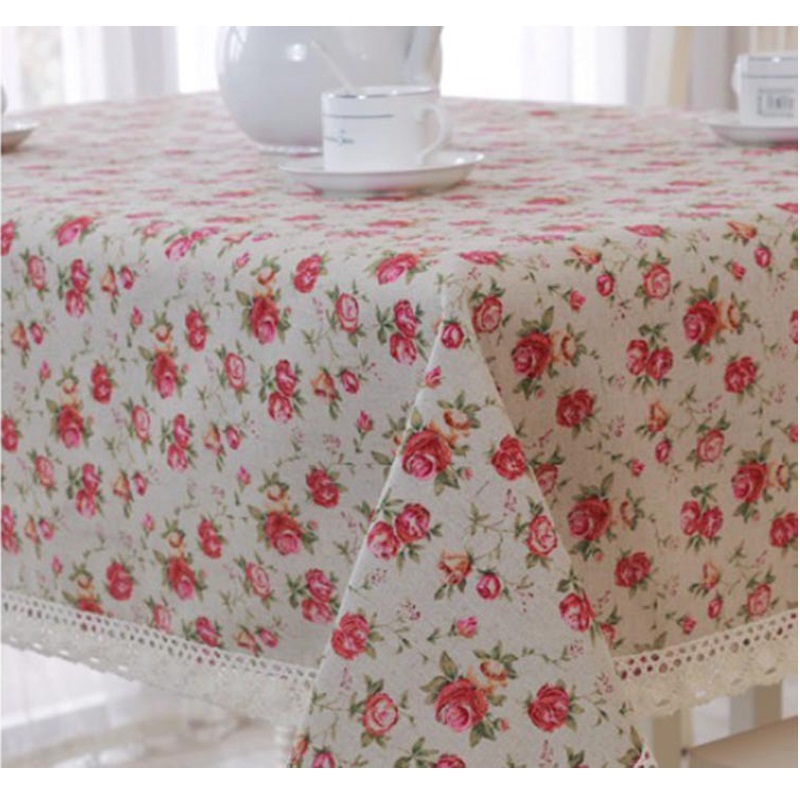 2015 New Arrival Europe Style Rose Floral Wedding Table Cloth Linen Rectangular Tablecloths Kitchen Dining Textile Table Cover(China (Mainland))