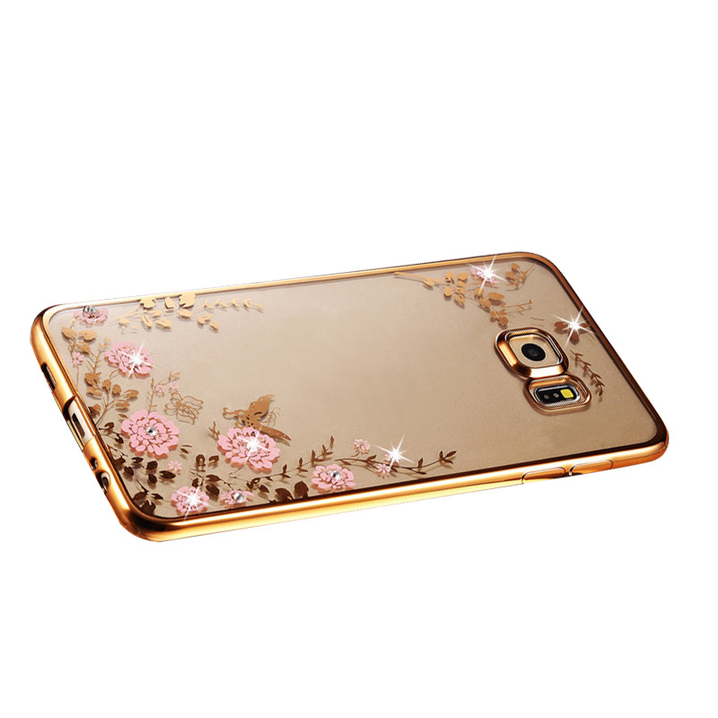 For Samsung Galaxy S7 Edge Hot Sales TPU Bling Diamond Dirt Resistant Phone Case Silicone Pink Flower Deco Cover Cases(China (Mainland))
