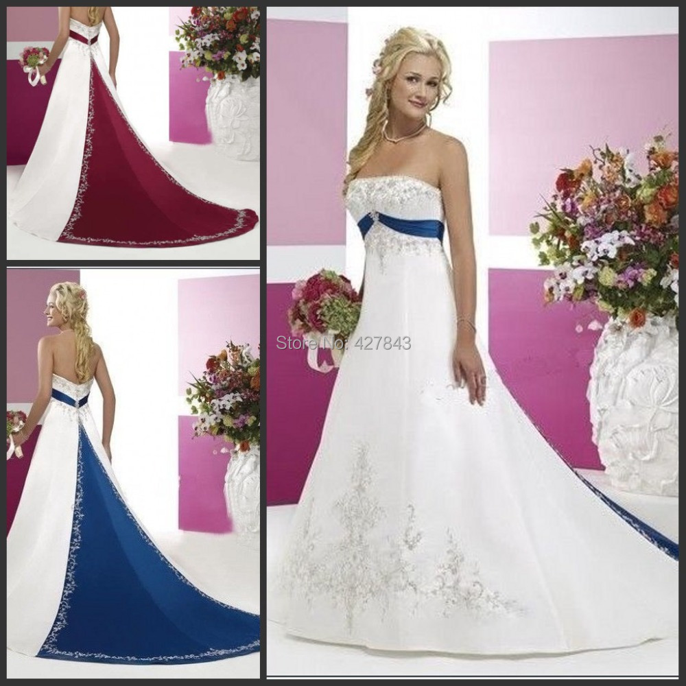 Bridal dresses in red and blue the for Blue and black wedding dresses