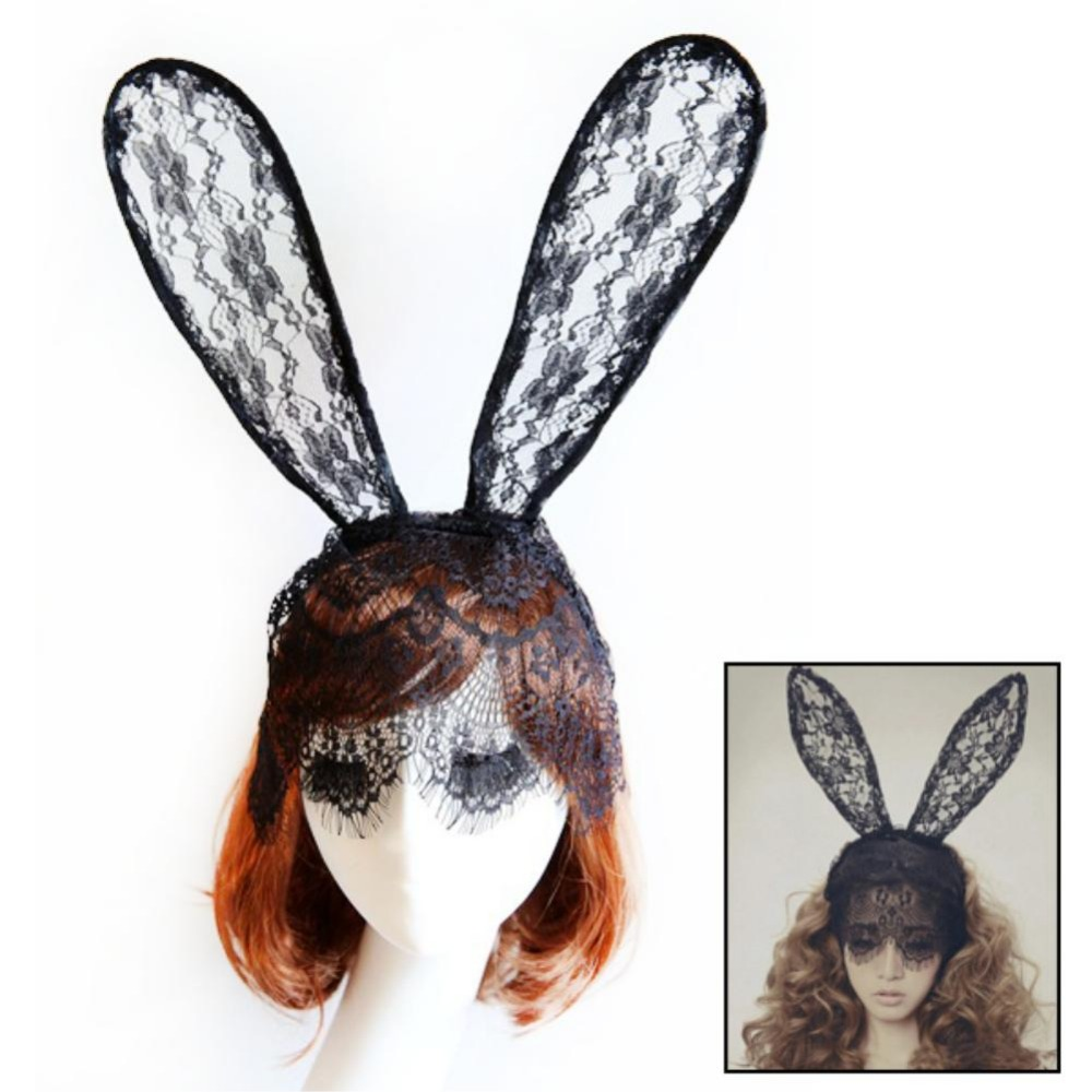 2016 New Arrival Black Women Girl Sexy Bunny Rabbit Ear Lace Bob Veil Mask Headband Headwrap Party Costume black white color(China (Mainland))
