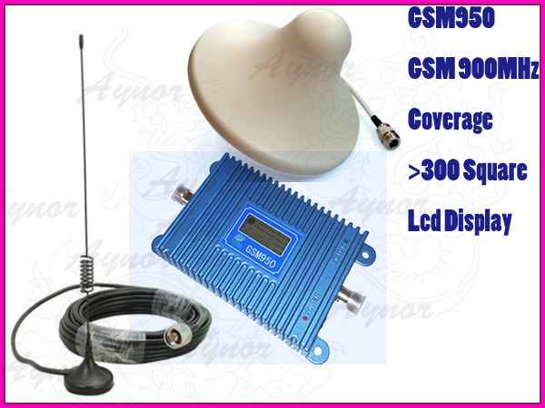 LCD display new model GSM950 900Mhz mobile phone signal booster repeater amplifier+outdoor car antena+indoor Ceiling antenna(China (Mainland))