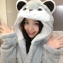 Cosplay Women Men Hooded Robe Animal Winter Spring Bathrobe Pajamas Thick Leisurewear with Hood Sleepwear Cow Stitch Bear Cat(China (Mainland))