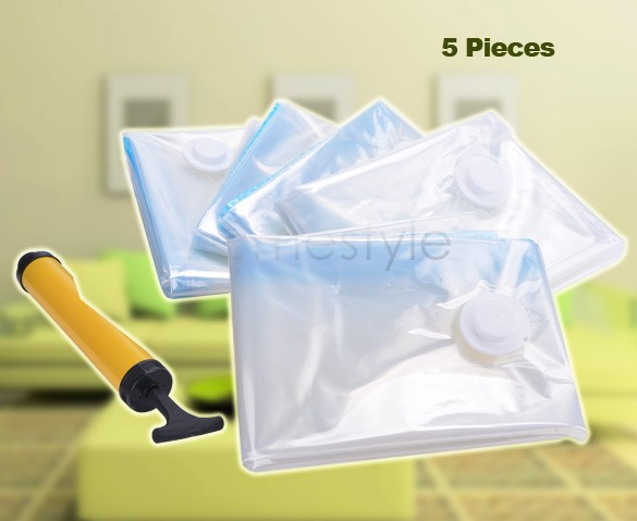 US Stocks 5pcs/pack Jumbo Seal Compressed Vacuum Organizer Bag Storage Organizer Space Saver Storage Bags 25(China (Mainland))