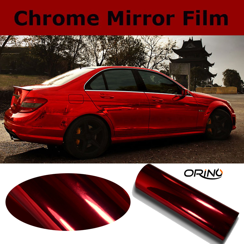 High Stretch Chrome Red Vinyl Wrap Full Car Wrapping Mirror Chrome Red Film Air Bubble Free Vehicle Covers Size:1.52*20M/Roll(China (Mainland))