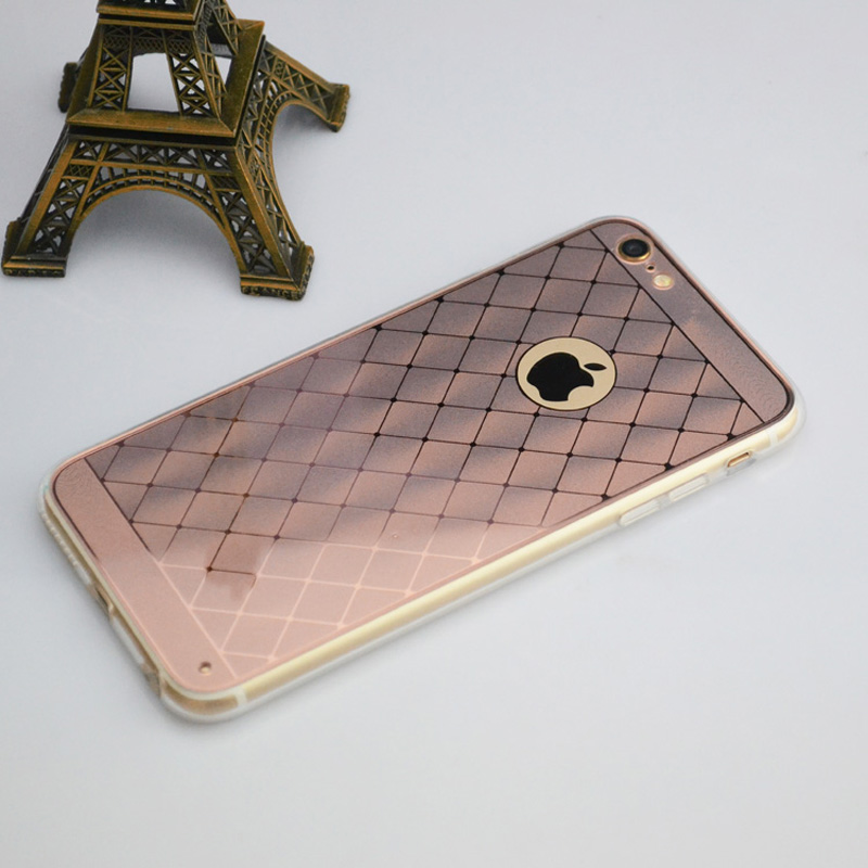 New arrival electroplate gold color cell phone case anti-skid chequer protector cover for Apple iphone6/6s plus 5.5 inches(China (Mainland))