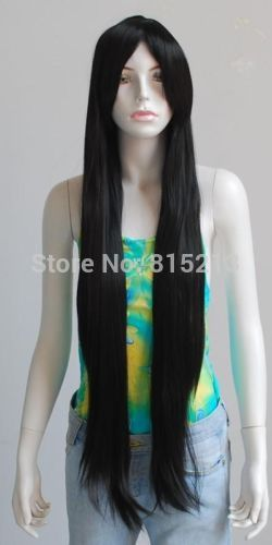 dd00786 NEW 40inch Long bang Straight Style Black HAIR COSPLAY wig(China (Mainland))
