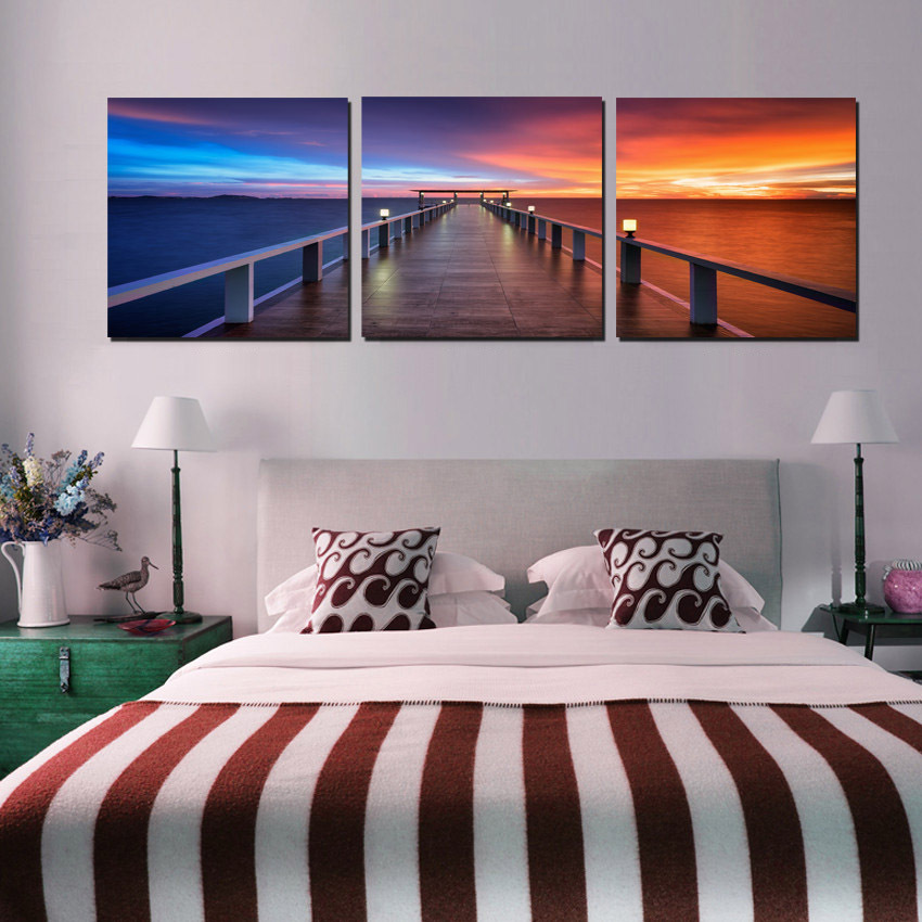 3 Panel Painting Canvas Morning Sunrise On Sea Bridge Modern Wall Pictures Beautiful Scenery For Bedroom Living Room Decoration(China (Mainland))